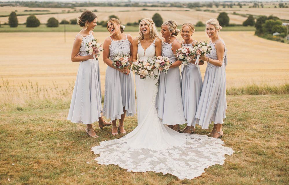 Pale Blue Bridesmaid Dresses & Martina Liana Bride Dress at Odo's Barn