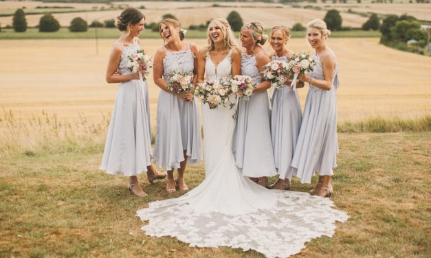 Pale Blue Bridesmaid Dresses & Martina Liana Bride Dress at Odo's Barn