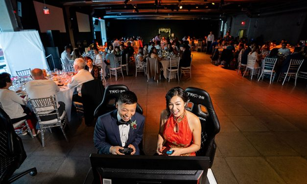 Gaming hubs and a Cactuar toss at this eSports arena wedding