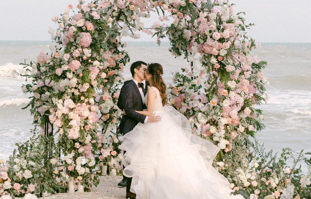 Lush Beach Garden Wedding with a Twinkle Lit Reception ⋆ Ruffled
