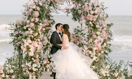 Lush Beach Garden Wedding with a Twinkle Lit Reception ⋆ Ruffled