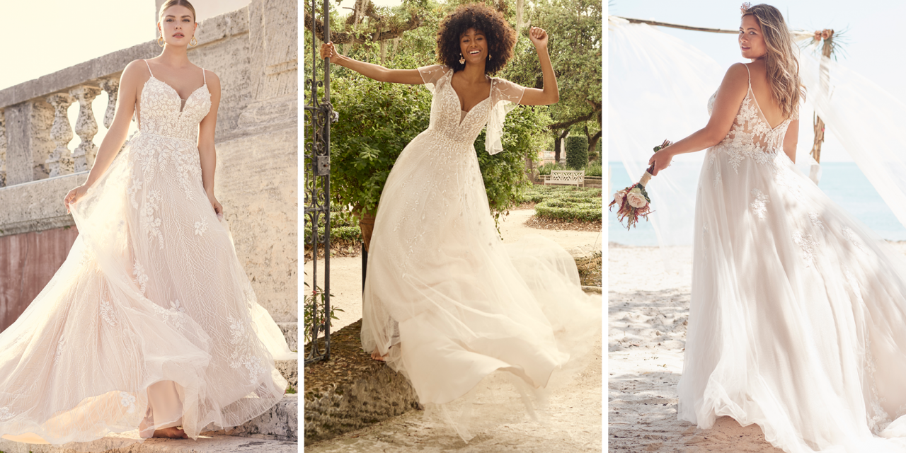 Lightweight A-line Wedding Dresses for Brides with Pear-Shaped Body Types